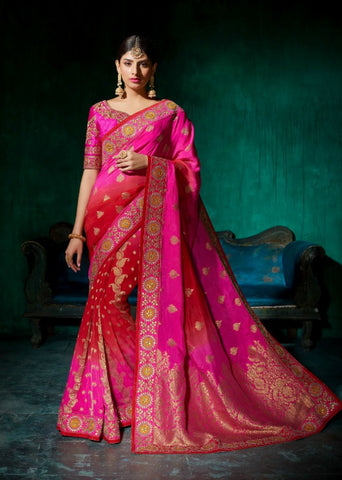Festive SS Colourful Shaded Pink Viscose Silk Saree by Fashion Nation