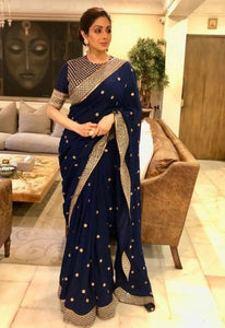 Sridevi KFP574 Bollywood Inspired Navy Blue Georgette Silk Saree - Fashion Nation