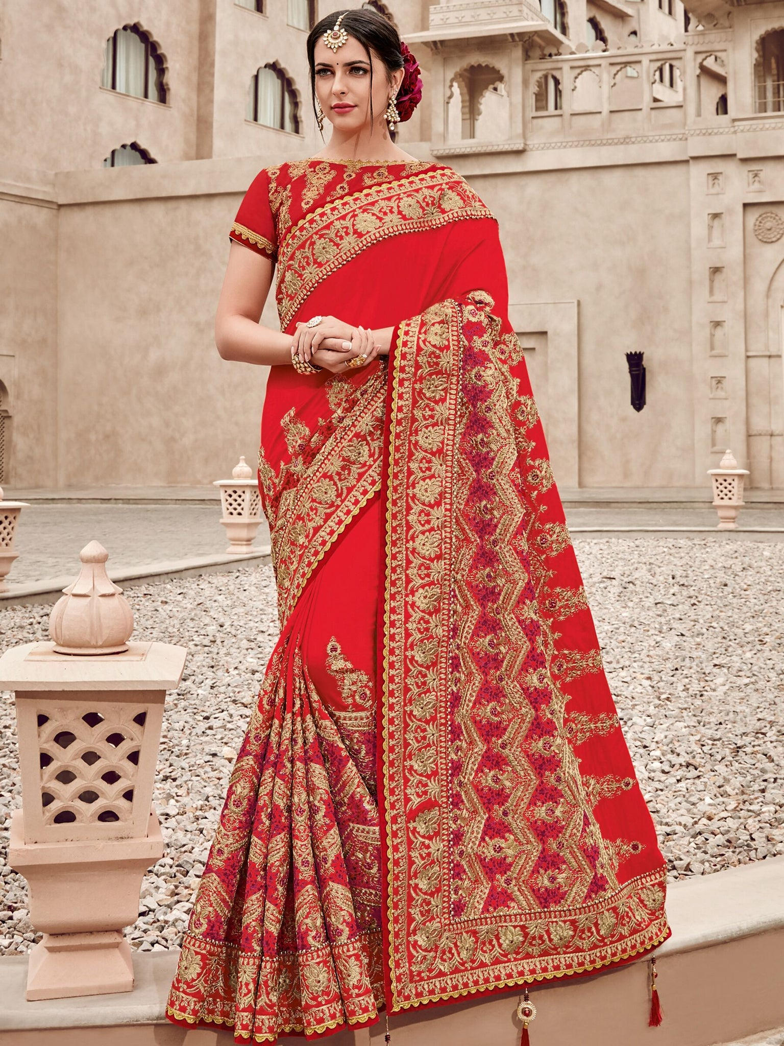 Wedding Wear TN11007 Designer Red Golden Silk Saree - Fashion Nation