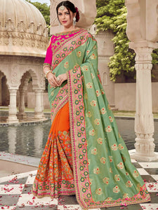 Bridal TN11008 Designer Green Orange Pink Silk Jacquard Saree - Fashion Nation