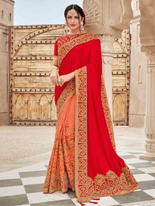 Vibrant TN11009 Bridal Red Orange Silk Satin Saree - Fashion Nation