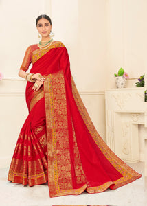 All Occasion Wear Red Silk Designer Saree with Blouse by Fashion Nation