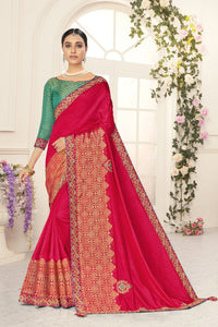 All Function Wear Red Silk Saree with Green Blouse
