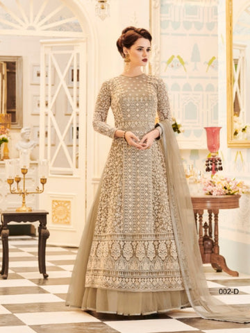 Great Buy VEE002D Designer Beige Net Anarkali Lehenga - Fashion Nation