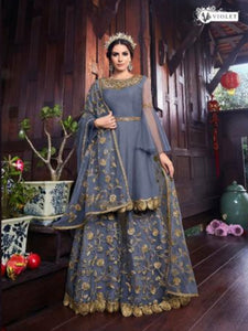 Gorgeous VIO6104 Indo Western Lavender Net Silk Sharara Lehenga Suit - Fashion Nation