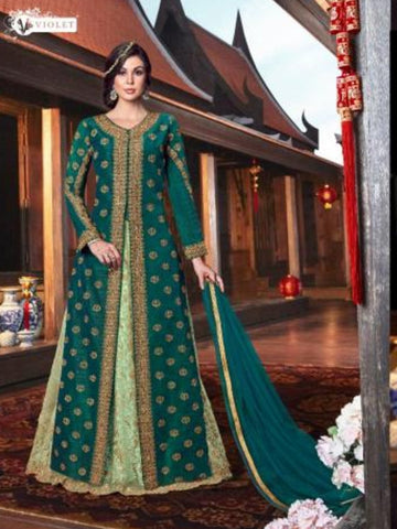 Stylish VIO6105 Indo Western Green Handloom Tussar Silk Jacket with Long Anarkali & Pant - Fashion Nation