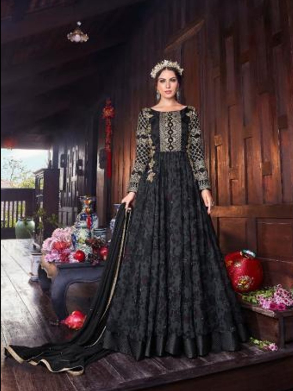 Party Wear VIO6106 Indo Western Black Organza Digital Printed Silk Abaya Style Anarkali Gown - Fashion Nation