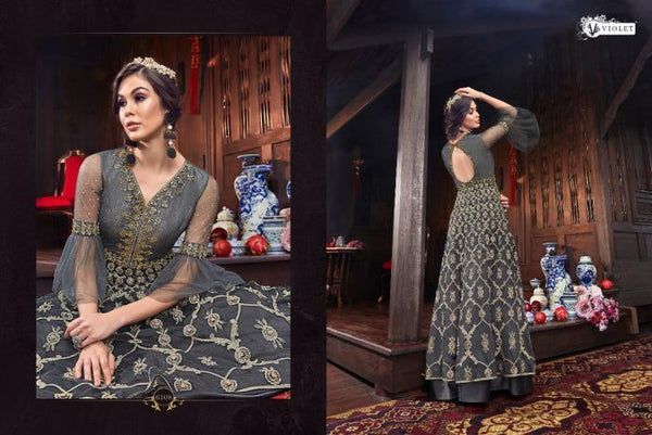 Trending VIO6108 Indo Western Grey Net Silk Abaya Style Double Layered Anarkali Gown - Fashion Nation