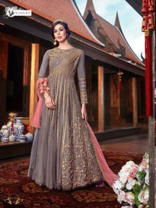 Amazing VIO6110 Indo Western Lavender Satin Georgette Anarkali Gown with Net Jacket - Fashion Nation