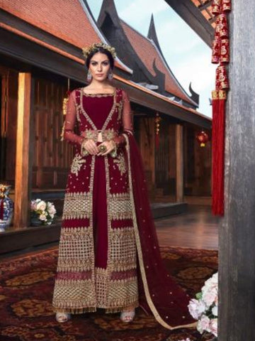 High Rated VIO6111 Indo Western Maroon Georgette Top & Palazzo Pant with Net Jacket - Fashion Nation