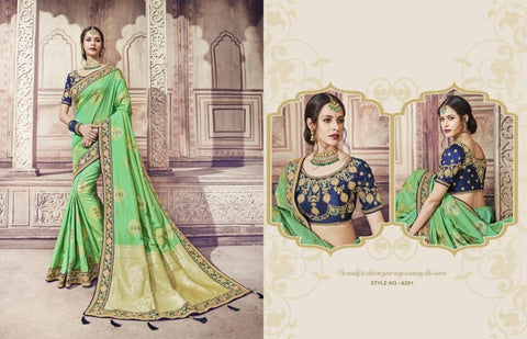 Bridal AM8201 Party Wear Blue Green Banarasi Silk Jacquard Saree - Fashion Nation