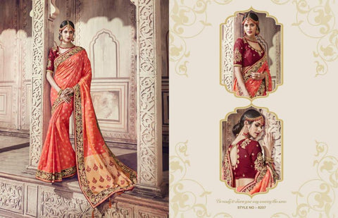 Royal AM8207 Gorgeous Peach Maroon Banarasi Silk Jacquard Saree by Fashion Nation