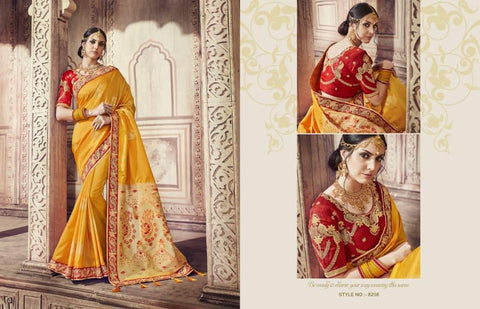 Heritage AM8208 Colourful Yellow Red Banarasi Silk Jacquard Saree by Fashion Nation