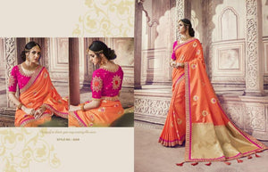 Ethnic AM8209 Dressy Peach Pink Banarasi Silk Jacquard Saree by Fashion Nation