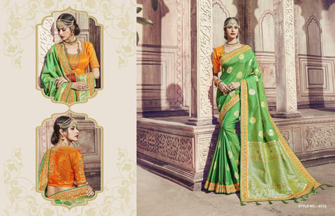 Traditional AM8210 Beautiful Yellow Green Banarasi Silk Jacquard Saree by Fashion Nation