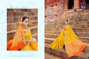 Traditional SH7976 Bridal Yellow Orange Banarasi Silk Saree by Fashion Nation