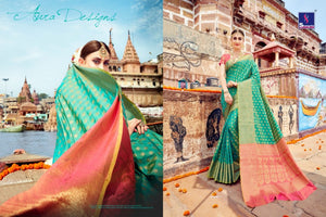 Heritage SH7977 Bridal Turquoise Blue Pink Banarasi Silk Saree by Fashion Nation