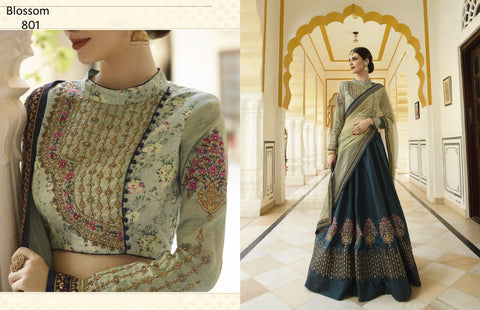 Stylish BL801 Partywear Velvet Silk Lehenga Choli by Fashion Nation