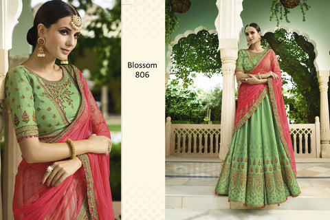 Outstanding BL806 Designer Green Pink Silk Lehenga Choli by Fashion Nation