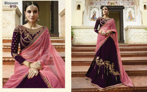 Partywear BL810 Designer Purple Pink Velvet Silk Lehenga Choli - Fashion Nation