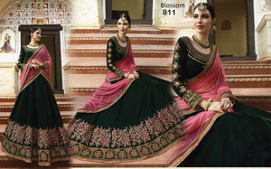 Attractive BL811 Designer Multicoloured Pink Velvet Silk Lehenga Choli - Fashion Nation