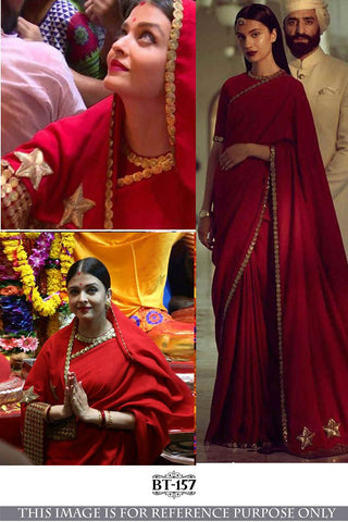 Aishwarya Rai Bachchan BT157 Bollywood Inspired Georgette Red Saree - Fashion Nation