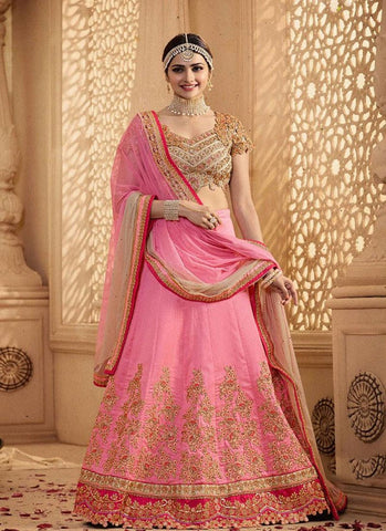 Prachi Desai BT151 Bollywood Inspired Pink Beige Georgette Silk Lehenga Choli
