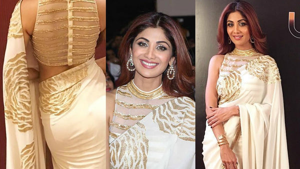 Shilpa Shetty BT156 Bollywood Inspired Georgette Beige Off-White Saree
