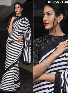 Partywear KFPSN104 Bollywood Inspired Black White Georgette Saree by Fashion Nation