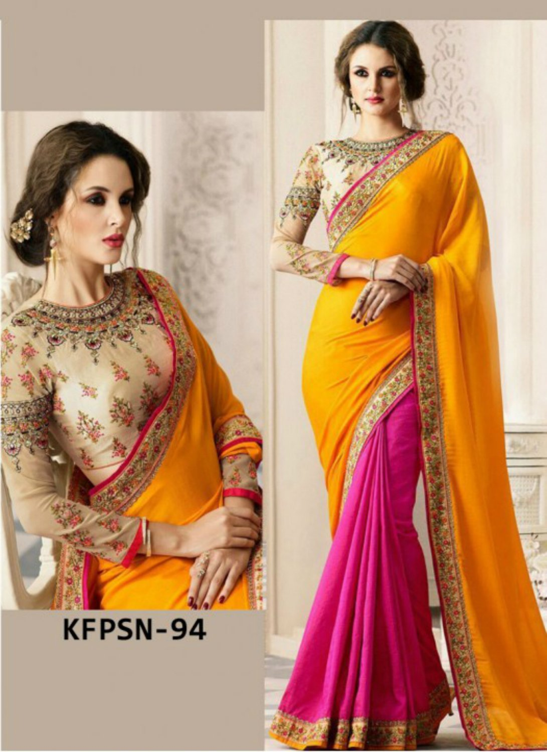 Colourful KFPSN94 Bollywood Inspired Pink Yellow Beige Georgette Silk Saree - Fashion Nation