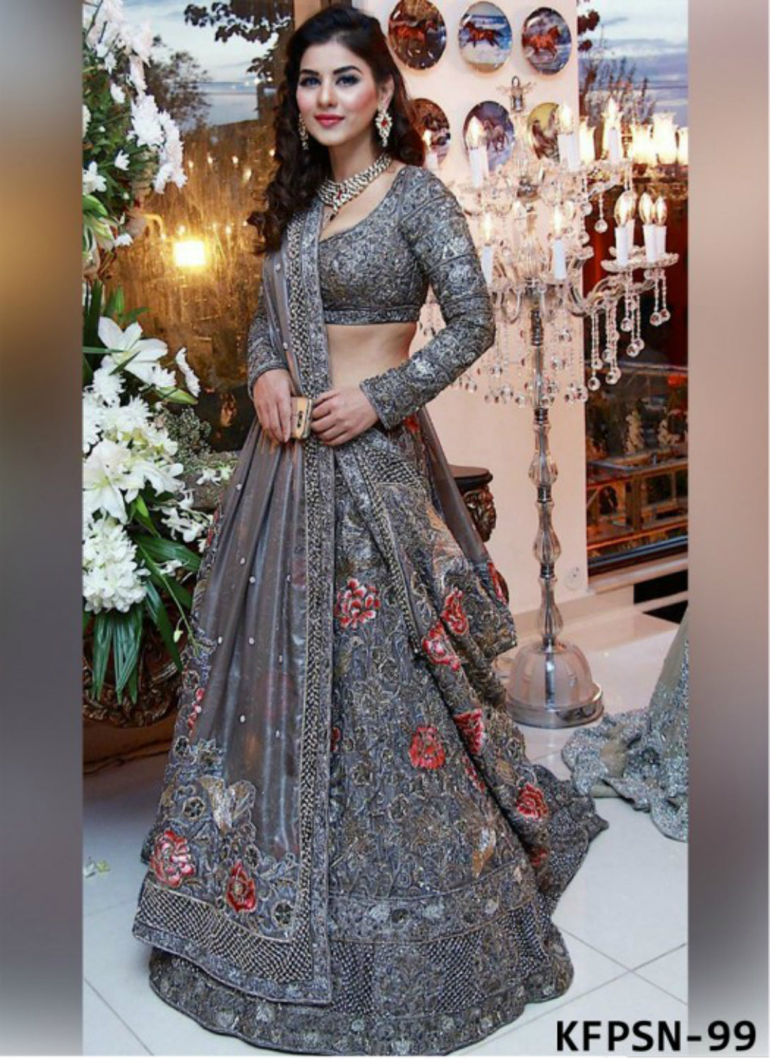 Partywear KFPSN99 Bollywood Inspired Grey Mono Net Silk Lehenga Choli by Fashion Nation