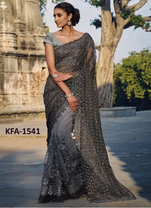 Partywear KFA1541 Bollywood Inspired Grey Net Jacquard Saree by Fashion Nation