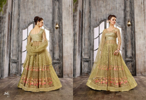 IndoWestern 1613 Glamorous Beige Net Silk Anarkali Lehenga by Fashion Nation