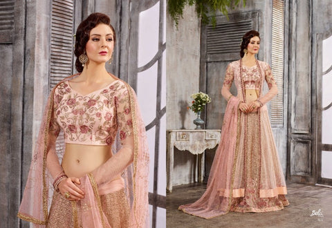 IndoWestern 1616 Stylish Pink Net Anarkali Lehenga by Fashion Nation