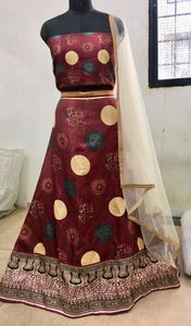 Shilpa Shetty BT169 Bollnywood Inspired Maroon Silk Lehenga Choli - Fashion Nation