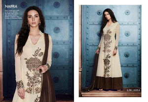 Beautiful NAK1039A Designer Off-White Georgette Silk Floor Length Dress Anarkali - Fashion Nation
