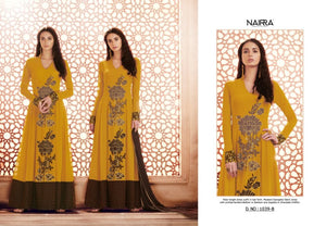 Pretty NAK1039B Designer Mustard Yellow Georgette Silk Floor Length Dress Anarkali by Fashion Nation