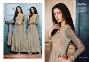Gorgeous NAK1040A Designer Grey Georgette Silk Floor Length Dress Anarkali by Fashion Nation