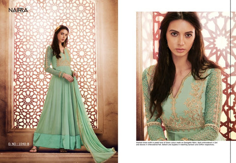 Smart NAK1040B Designer Aqua Green Georgette Silk Floor Length Dress Anarkali by Fashion Nation