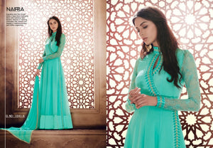 Stylish NAK1041A Designer Aqua Green Georgette Silk Floor Length Dress Anarkali by Fashion Nation