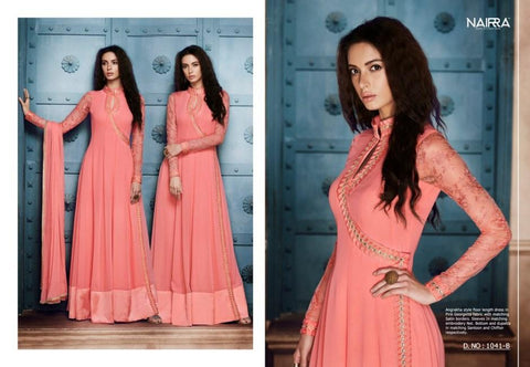 Dainty NAK1041B Designer Pink Georgette Silk Floor Length Dress Anarkali - Fashion Nation