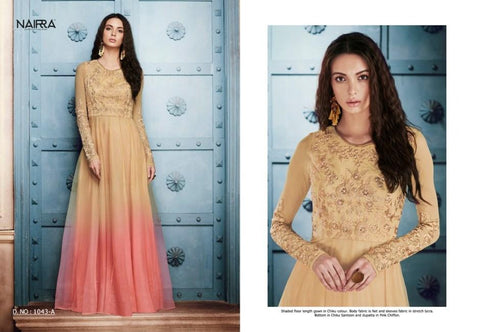 Colourful NAK1043A Designer Shaded Beige Pink Net Silk Floor Length Dress Anarkali - Fashion Nation