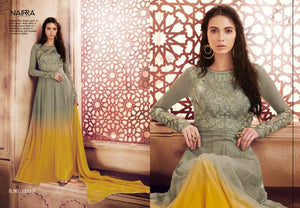 Haute Couture NAK1043B Designer Shaded Olive Mustard Yellow Net Silk Floor Length Dress Anarkali by Fashion Nation
