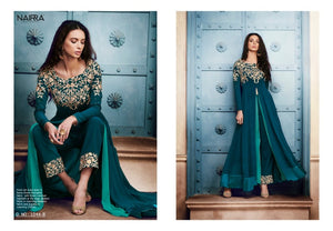 Party Wear NAK1044B Designer Rama Green Georgette Silk Floor Length Dress Anarkali by Fashion Nation