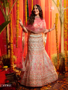 Engagement Special Multicolour Organza Floral Lehenga Choli at Cheapest Prices
