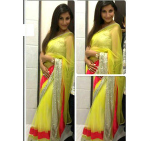 1416 - Mansi Soni Neon Yellow Net Saree - Fashion Nation