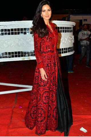 Amazing KD1117 Bollywood Inspired Katrina Kaif Black Red Silk Anarkali Gown - Fashion Nation.in  - 1
