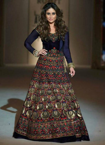 Attractive KD1118 Bollywood Inspired Kareena Kapoor Khan Blue Velvet Silk Anarkali Gown - Fashion Nation.in  - 1