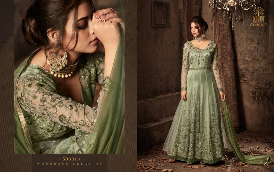 Excellent 50001 IndoWestern Green Net Satin Silk Anarkali Gown by Fashion Nation