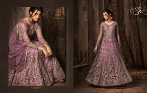 Smart 50002 IndoWestern Purple Net Satin Silk Anarkali Gown by Fashion Nation